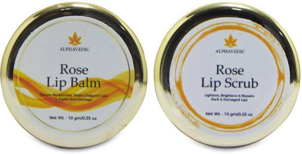 Alphavedic Rose Lip Balm And Lip Scrub Combo | Exfoliate and Hydrate Dark, Dry and Chapped Lips | Men and Women Rose