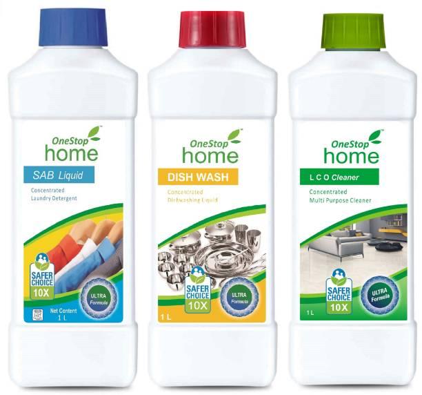 ONESTOP HOME SAB DETERGENT LIQUID (1L)+DISH WASH LIQUID (1L)+LCO MULTIPURPOSE CLEANER (1L) PACK OF 3 Multi-Fragrance Liquid Detergent