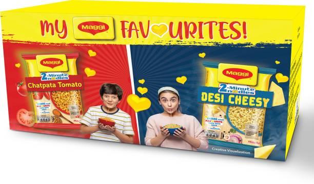 Maggi Favourites Box - Desi Cheesy Masala(6 Pack x 60.5g), Chatpata Tomato Masala(6 Pack x 60.5g) Instant Noodles Vegetarian