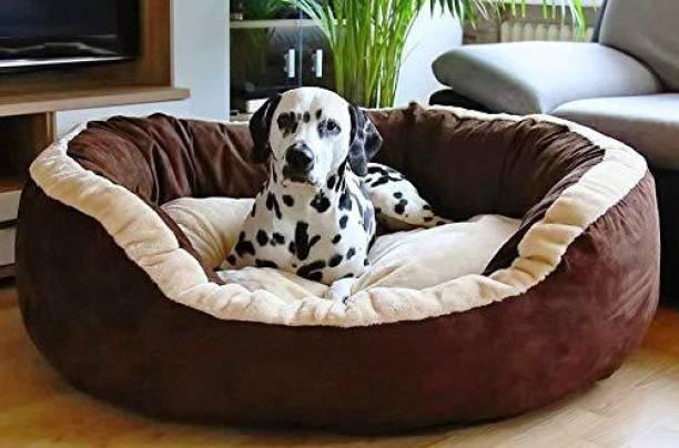 Hiputee Soft Velvet Reversible Round Brown Dog/Cat/Pet Bed Medium M Pet Bed