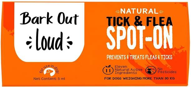 BARK OUT LOUD Spot On   Preventive Treatment Against Fleas & Ticks   Enriched with 11 Essential Oils   Gentle on Skin, Dogs 30 kgs+ Flea and Tick Fresh Dog Shampoo
