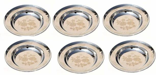 Nirvika Pack of 6 Stainless Steel Stainless Steel Tableware Deep 10.5 Inches Soup/Maggi/Pasta/Macroni/Idly/Gravy Rice Plates/Bowl Plate Breakfast Meal Quarter Plates Set of 6 Pc Pcs Pieces (Dimension - 10.5 Inches Depth - 1.5 inches)( Set of 6 Quantity)(Half Plate/Quarter Plate/Dish Set) (Material : Stainless Steel)(Design: Round with Permanent Laser Flower Printed) Rice Plates (6 Rice Plates) Dinner Set Dinner Plate