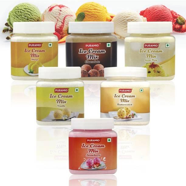 PURAMIO Icecream Mix Combo (Vanilla, Chocolate, Strawberry, Mango, Kesar Pista, Butterscotch), Each 250g 1500 g