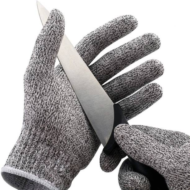 TruVeli Anti Cutting Resistant Hand Safety Gloves Cut Proof 5 Level Protection Rubber Grade Finishing Synthetic  Safety Gloves