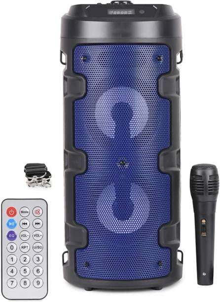 Potasa Multi-color Powerful 3D Sound Quality LED Party Night With Wired Mic, Remote controller, Connects With All Smartphones 12 W Bluetooth PA Speaker