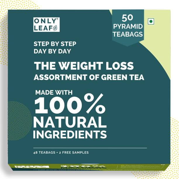 Onlyleaf Weight Loss Assortment of Green Tea, Made with 100 % Natural Ingredients, 50 Pyramid Tea Bags (48 Tea Bags + 2 Free Samples) of Six Healthy & Exciting Flavors Green Tea Box