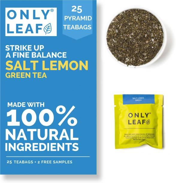Onlyleaf Salt Lemon Green Tea (27 Pyramid Tea Bags) for Balanced Nutrient Absorption & Natural Body Detox, Made with 100% Natural Ingredients & Lemon Salt (27Tea Bags ) Lemon Green Tea Box