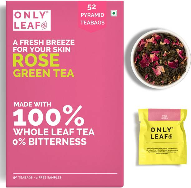 Onlyleaf Rose Green Tea for Glowing Skin, Made with 100% Whole Leaf & Natural Rose Petals, 52 Pyramid Tea Bags (50 Tea Bags + 2 Free Samples) Rose Green Tea Box