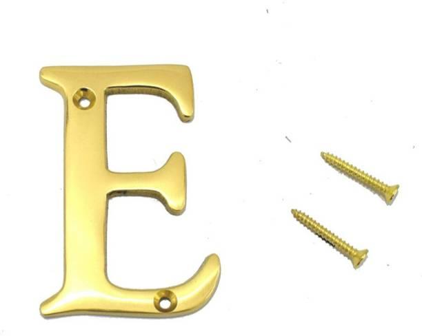 ROSEKA Brass Lacquered Finish Stylish /House /Flat /Door Numbers Alphabets (Alphabet E) Sign