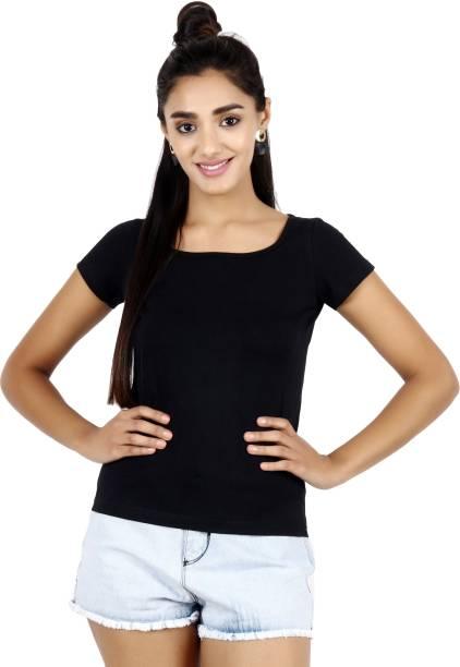 POPWINGS Casual Half Sleeve Solid Women Black Top