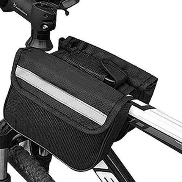 Kraptick 2L Bike Bag Bicycle Front Tube Frame Bag with Waterproof Cover, Reflective Trim, Phone Holder Case and Large Double Sided Pockets One-side Black Ethylene Vinyl Acetate Motorbike Saddlebag