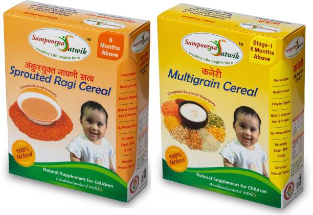 sampoorna satwik Multigrain Cereal Stage - 1 and Sprouted Ragi Cereal, 400 Grams (Combo of 2),Homemade, natural Cereal