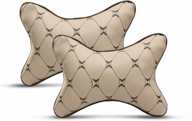 Auto Hub Beige Leatherite, Cotton Car Pillow Cushion for Universal For Car