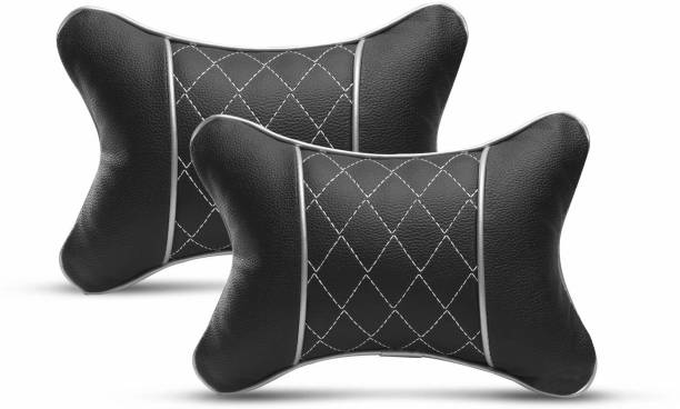 Auto Hub Black, Silver Leatherite, Cotton Car Pillow Cushion for Universal For Car