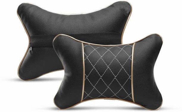 Auto Hub Black, Beige Leatherite, Cotton Car Pillow Cushion for Universal For Car
