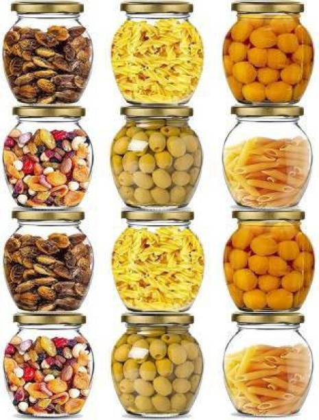 Exiito kitchen 400 ml Matka Shape Glass jar with Rust Proof Air Tight Lid for Storage Spices Glass Jars Set Glass Jars for Kitchen Glass jar containers Lass jar and containers for Storage set of 12 1 Piece Spice Set