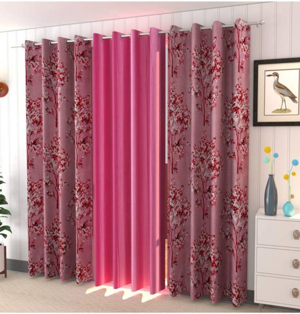 AH ARTSY HOME 214 cm (7 ft) Polyester Door Curtain (Pack Of 3)