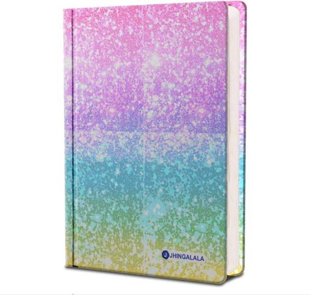 Jhingalala Dreamy Space Hard Bound Undated A5 Diary Notebook (20 X 14.5 CM, 80 GSM, 190 Ruled Perforated Pages) Diary for Writing, Gift for Friend, Personal Diary A5 Diary Ruled 190 Pages