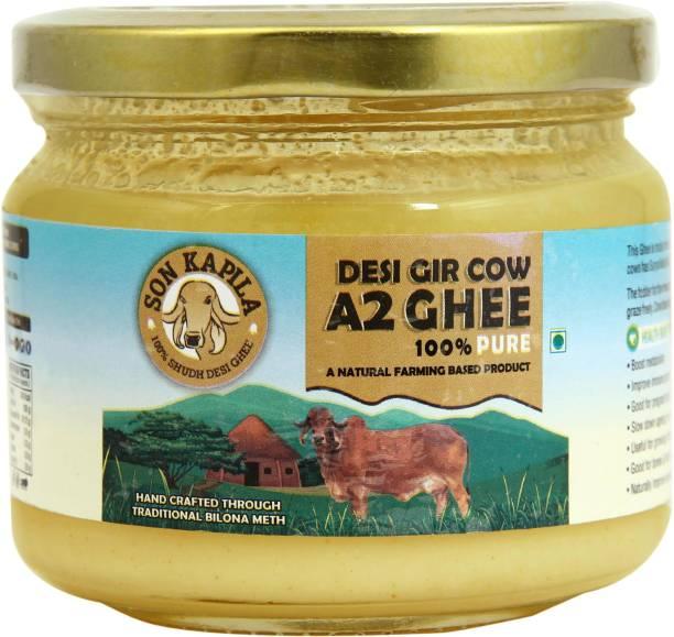 SONKAPILA Organic Farms A2 Cultured Ghee, Desi Gir Cow Ghee 250 ml Glass Bottle