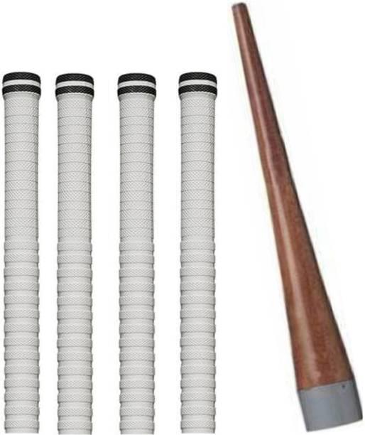 Raider Set of 4 Cricket Bat White grip + 1 wooden gripper (cone) Super Tacky