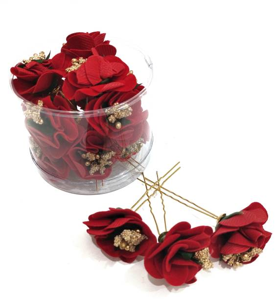 Swastik Creation Hair Flower Fancy Bun Metal Jura pins Pack Of 12 red Rose Hair Accessories/Fancy Juda Pins /Clips for Bun Decoration/Juda pins for Bridal Hair for Women and Girls Bobby U Shape Pins Bun Clip