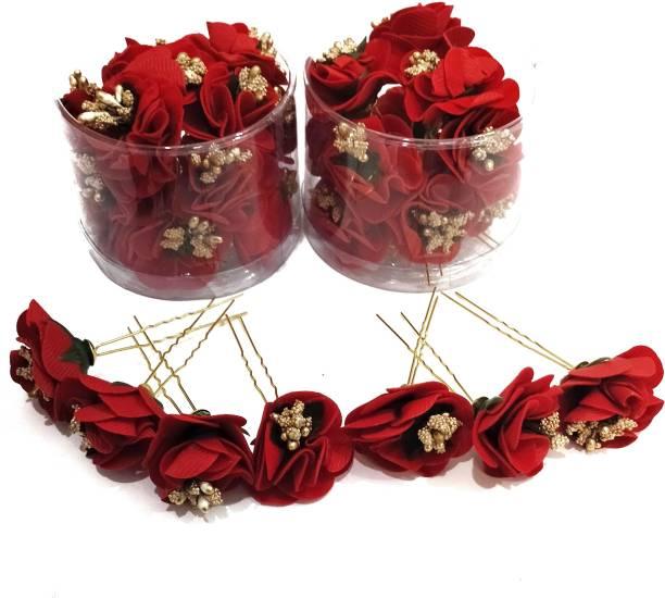 Swastik Creation Hair Flower Fancy Bun Metal Jura pins Combo Pack Of 24 red Rose Hair Accessories/Fancy Juda Pins /Clips for Bun Decoration/Juda pins for Bridal Hair for Women and Girls Bobby U Shape Pins Bun Clip
