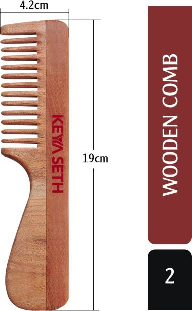 KEYA SETH AROMATHERAPY Neem Wooden Handle Comb Wide Tooth for Hair Growth for Men & Women