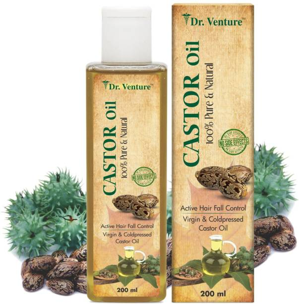 Dr Venture Castor Oil 100% Pure & Natural Premium Cold Pressed Castor Oil For Control Active Hair Fall Moisturizers Dry Skin Face Cleanser And Healthy For Nails Eyelash Virgin Grade 200 ml Pack of 1 Hair Oil