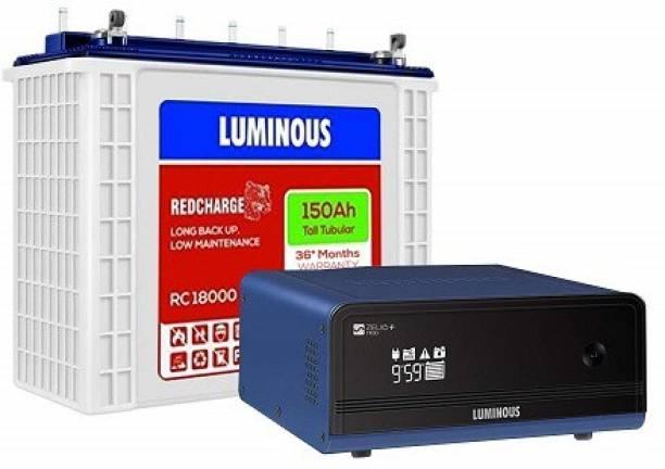 LUMINOUS Zelio 1100 Sine Wave Inverter With RC18000 150Ah Tall Tubular Inverter Battery Tubular Inverter Battery