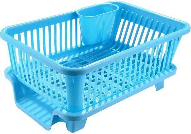 Ritz Imagination Large Sink Set Dish Rack Drainer Drying Rack Washing Basket with Tray for Kitchen, Dish Rack Organizers, Utensils Tools Cutlery (Multi Color) Utensil Kitchen Rack (Plastic) Dish Drainer Kitchen Rack