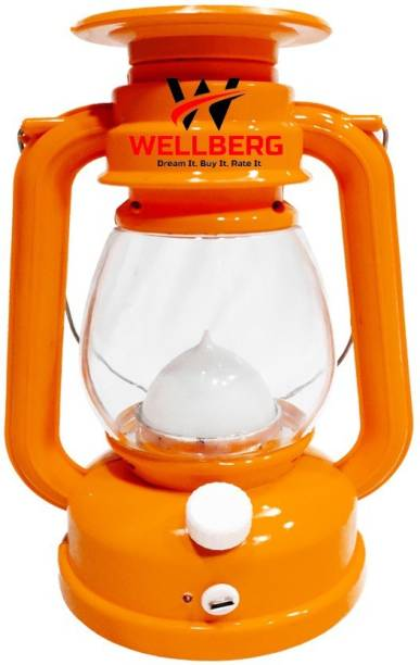 Wellberg Plastic Table Lantern Emergency Camping Light Rechargeable Night Light Travel Camping Plastic Hanging Lantern (Pack of 1) Table Lamp