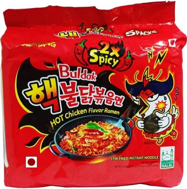 Samyang 2X Spicy Bulduk Hot Chicken Flavor Ramen Fire Chicken Double Spicy, 5 X 140 gm Instant Noodles Non-vegetarian