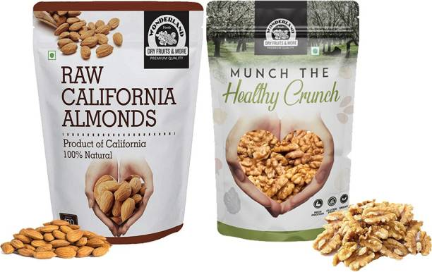 WONDERLAND Dry Fruits Combo Pack of California Almond (500 g) and Kernel Walnut (500 g) Almonds