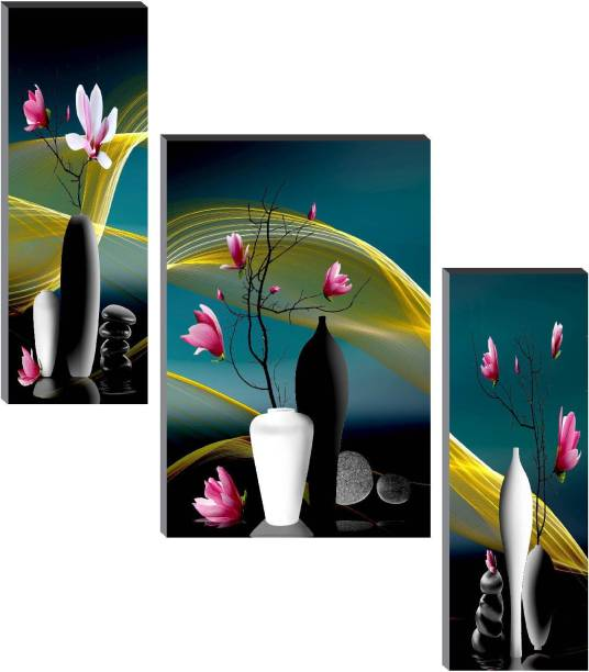 SAF Set of 3 Floral Digital Reprint 12 inch x 18 inch Painting