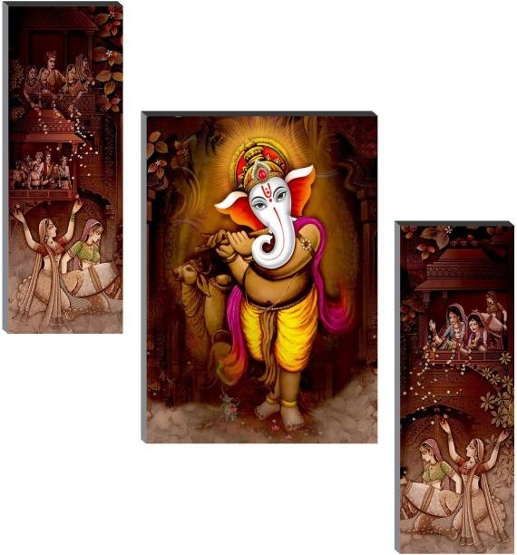 SAF Set of 3 Ganesha Digital Reprint 12 inch x 18 inch Painting