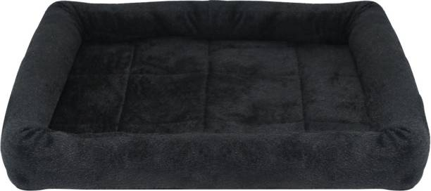 Dogerman Rectangular Black Fur Pad Bed for Dogs & Cats M Pet Bed