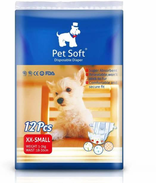 Pet Soft Pet Disposable Female Puppy Dog Diaper, 12Pcs, XXS Disposable Dog Diapers