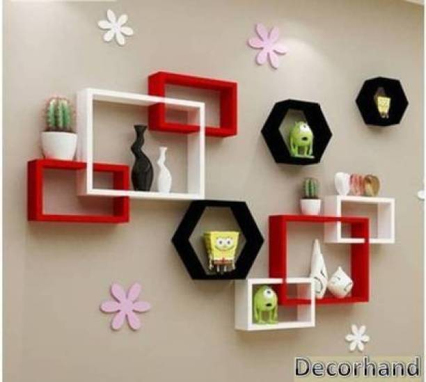 Decorhand Wall Mount Intersecting Hexagon Wall Shelves Solid Wood Display Unit