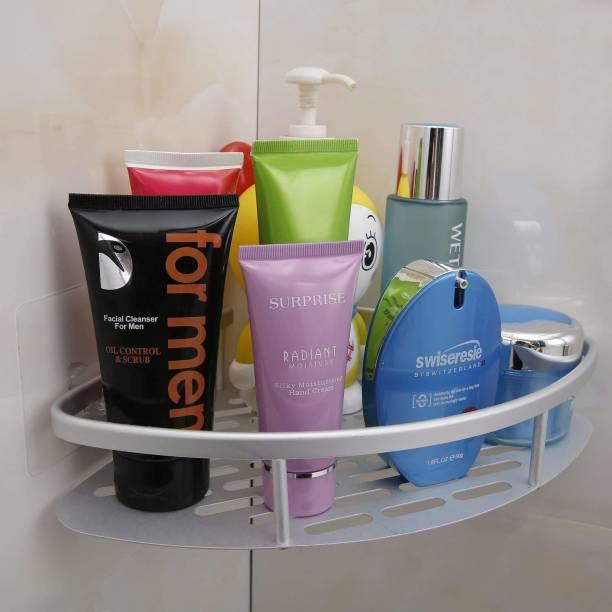 HOKiPO Magic Sticker Series Self-Adhesive Bathroom Corner Shower Caddy Aluminium Wall Shelf