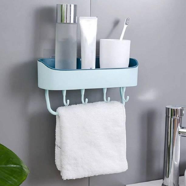 MAX MY SHOP Multipurpose Plastic Kitchen Bathroom Shelf Wall Holder Storage Rack with 4 Hook Plastic Wall Shelf