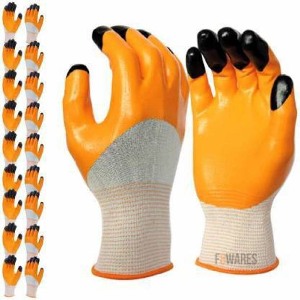 SSWW Multipurpose Heavy-Duty Reusable Washable Nitrile Coated Work Safety Hand Gloves for Dishwashing Gardening Industrial Agricultural Cleaning Carwash for Men & Women ( Pack of 10 pair gloves ) Synthetic  Safety Gloves