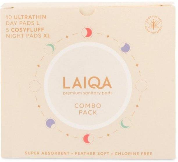 LAIQA Sanitary Napkin Combo Pack of 15 Pads | 10 L Pads + 5 XL Pads + 2 Free PL Sanitary Pad