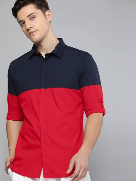 3SIX5 Men Color Block Casual Dark Blue, Red Shirt
