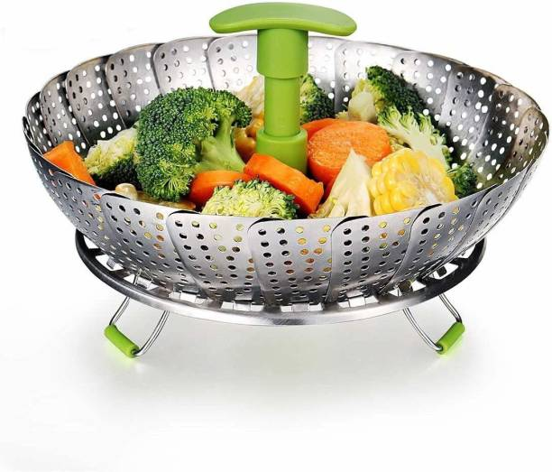 """SYGA Small Stainless Steel Steamer Basket for Vegetable/Insert for Pots, Pans for steam boiling cooking-5.5""""-9"""", Green Stainless Steel Steamer"""