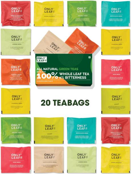 Onlyleaf 100% Natural Immunity Boosting Green Tea | Variety Sampler Box | Contains 20 Pyramid Tea Bags of 10 Different Exotic Flavors Tulsi, Jasmine, Turmeric, Ginger, Mint, Hibiscus, Rose, Chamomile Green Tea Box