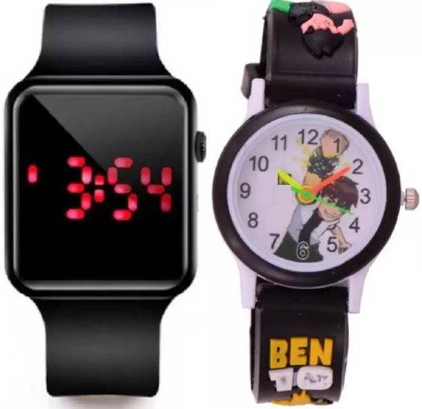 Florida ATTRACTIVE BLACK COLORED SQUARE DIAL SILICON STRAP FOR KID'S AND BOY'S AND GIRL'S AND MEN'S Analog-Digital Watch  - For Boys & Girls