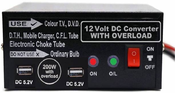 ERH India 200 Watt DC to AC Converter with Full Output for Home, Car, Boat, Solar Panel, Color TV, DTH Box, Mobile Charger Worldwide Adaptor