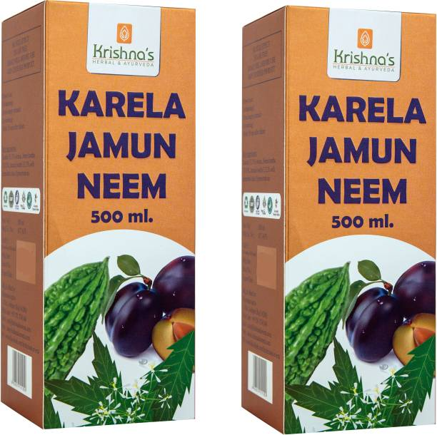 Krishna's Herbal & Ayurveda Karela, Jamun and Neem Mix Juice | Pure Ayurvedic and Natural | Improves Digestion | Helps Control Blood Sugar | Natural Blood Purifier | Pack of 2 | 500 ml each