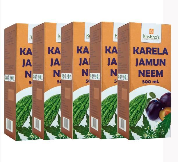 Krishna's Herbal & Ayurveda Karela, Jamun and Neem Mix Juice   Pure Ayurvedic and Natural   Improves Digestion   Helps Control Blood Sugar   Natural Blood Purifier   Pack of 5   500ml each