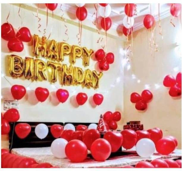 Devansh enterprises Solid Golden Happy Birthday Foil Letter Balloons With 30 Red & White Large Balloons Balloon